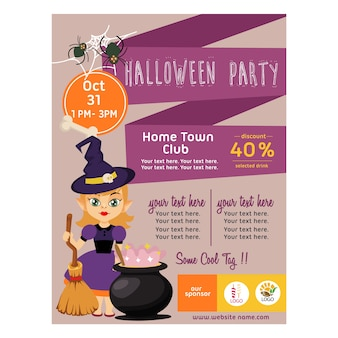 Halloween purple poster with kid wizard flat style