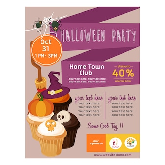 Halloween purple poster with muffin cupcake