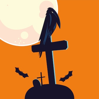 Halloween raven cartoon on grave design, holiday and scary theme