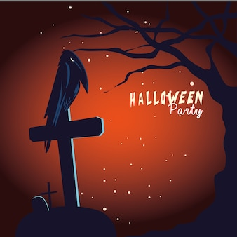 Halloween raven cartoon on grave and tree design, holiday and scary theme