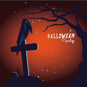 Хэллоуин ворон мультфильм на могиле и дереве дизайн, праздник и страшная тема