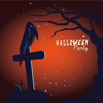 Хэллоуин ворон мультфильм на могиле и дерево дизайн
