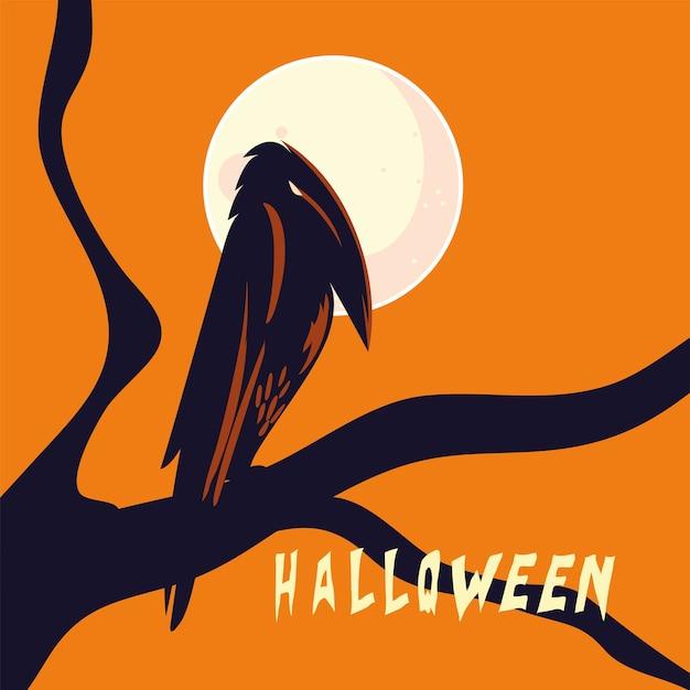 Хэллоуин ворон мультфильм на дизайн дерева