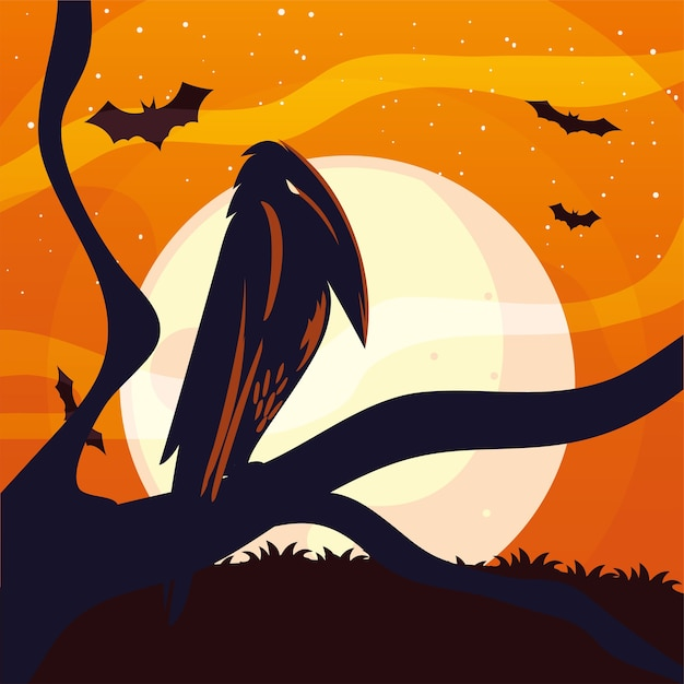 Halloween raven cartoon on tree design, holiday and scary theme