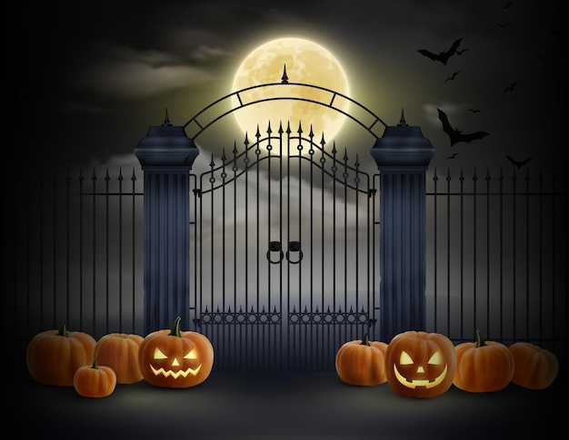 Реалистичная иллюстрация хэллоуина со смеющейся тыквой, разбросанной возле ворот старого кладбища в лунную ночь