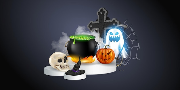 Halloween realistic set with various objects for witches isolated on black background vector illustration. halloween elements and objects for design projects.