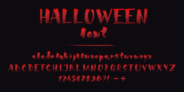 Halloween red blood font autumn holiday horror alphabet letters set on black background