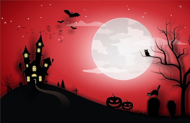Halloween red template in night sky view with cat, pumpkin, castle, and full moon.