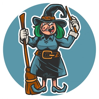 Halloween's creepy witch holding broom stick and magic wand