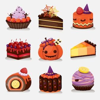Halloween's dessert menu set. sweet halloween cake.