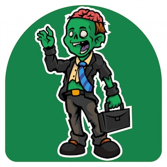 Halloween's the employee zombie man character in a torn suit with a suitcase