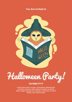 Halloween's party invitation  with owl wizzard illustration