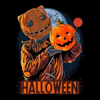 Хэллоуин мешок человек в маске несущий тыкву и конфеты