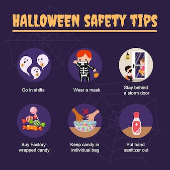 Halloween  safety tips during corona virus pandemic. stay safe information social media post template.   .