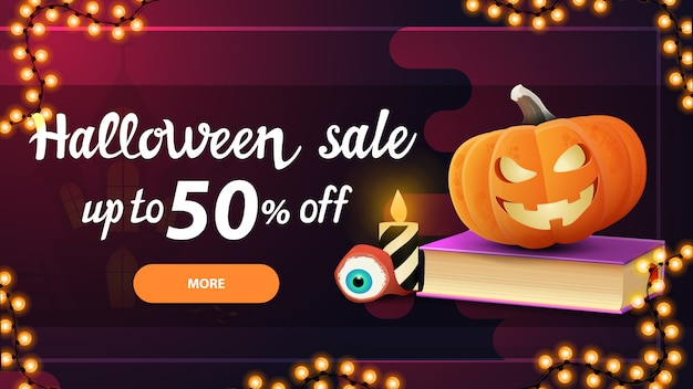 Halloween sale, -50% off, pink horizontal discount banner with button, spell book and pumpkin jack