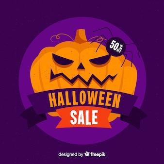 Halloween sale background flat design