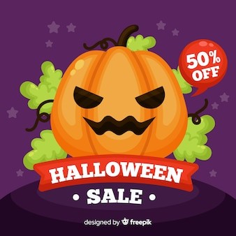 Halloween sale background flat style