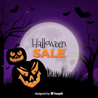 Halloween sale background realistic style