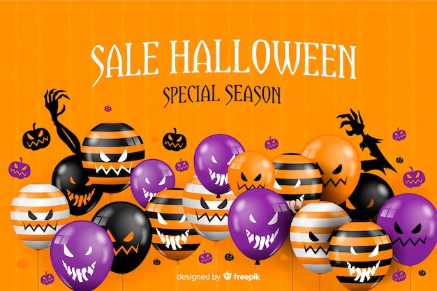 Halloween sale background and scary balloons