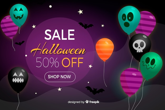 Halloween sale background with balloons in flat design