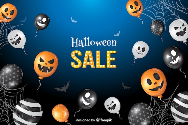 Halloween sale background with balloons