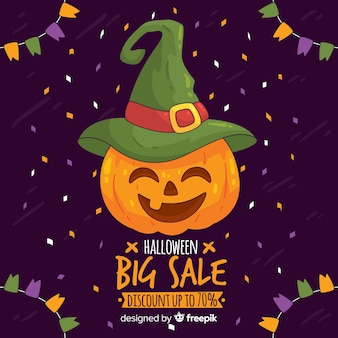 Halloween sale background with pumpkin