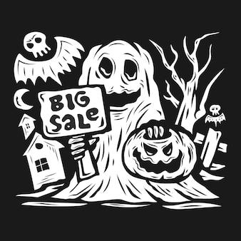 Хэллоуин продажа фон с тыквами и дом с привидениями векторная иллюстрация