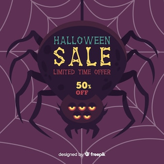 Halloween sale background with spider
