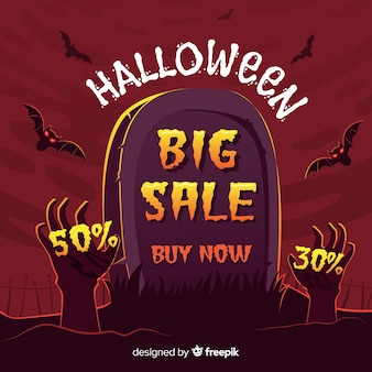 Halloween sale background with tombstone and zombie hands