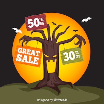 Halloween sale background with tree