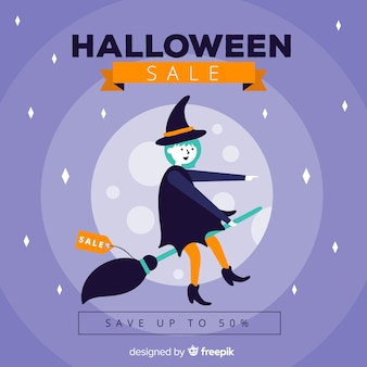 Halloween sale background with witch