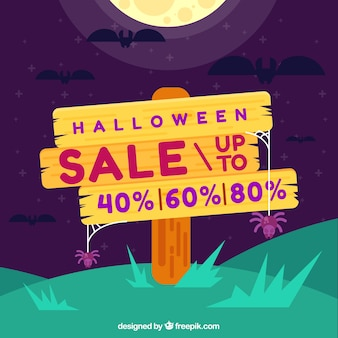 Halloween sale background with wooden sign