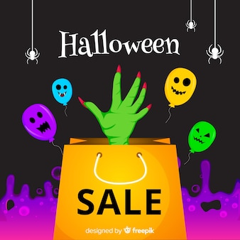 Halloween sale background with zombie hand