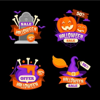 Halloween sale badge collection design