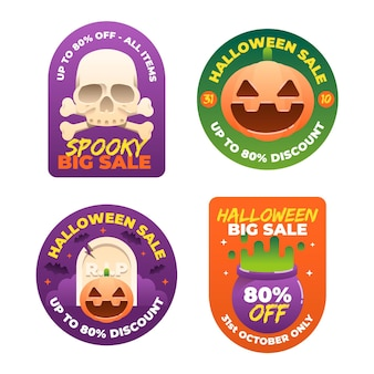 Halloween sale badge collection in flat design