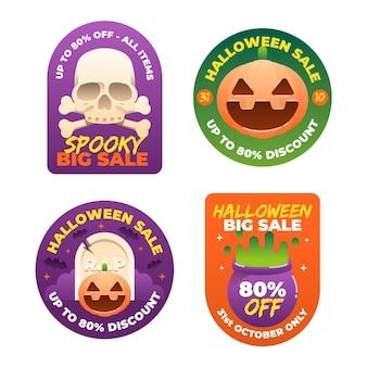 Коллекция значков продажи хэллоуина в плоском дизайне