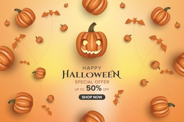 Halloween sale banner background