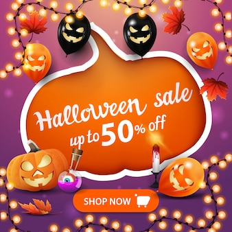 Halloween sale banner, creative discount banner with large pumpkin carved in paper