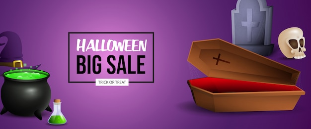 Halloween sale banner design with potion, coffin and grave