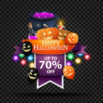 Halloween sale banner, discount web banner in the form of ribbon with witch's cauldron and pumpkin jack