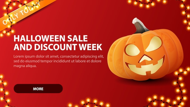 Halloween sale banner and discount week, red discount web banner with fun pumpkin jack.