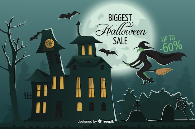 Halloween sale banner on flat design