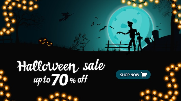 Halloween sale banner, horizontal discount banner with night landscape with big blue full moon, zombie and witches.