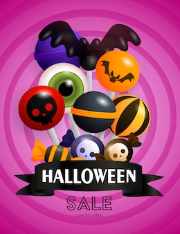 Halloween sale banner and lollipops