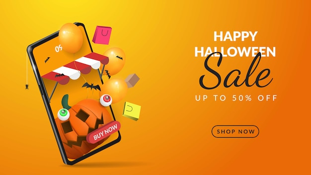 Halloween sale banner online shopping on mobile 3d