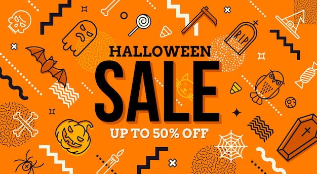Halloween sale banner. pattern with halloween signs, symbols  and abstract different shape. promotion template design.