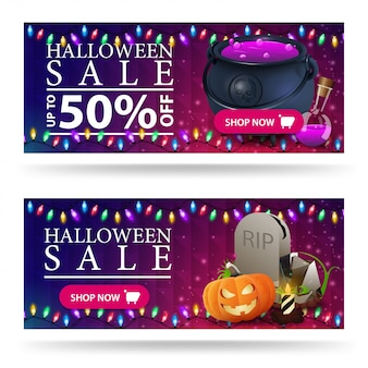 Halloween sale banner, purple horizontal discount  with witch's cauldron and tombstone