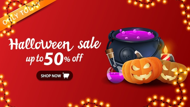 Halloween sale banner, red discount web banner with witch's cauldron and pumpkin jack