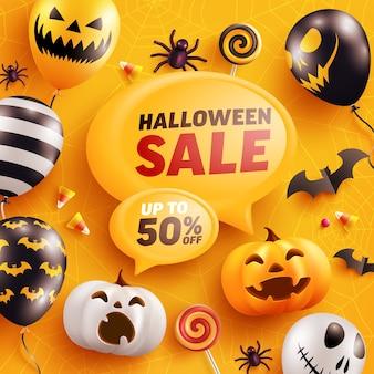 Шаблон баннера продажи хэллоуина с тыквой хэллоуина и воздушными шарами-призраками.