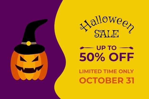 Шаблон баннера для распродажи на хэллоуин с тыквенным монстром и шляпой ведьмы специальное предложение на хэллоуин